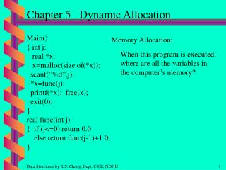 Chapter 5   Dynamic Allocation