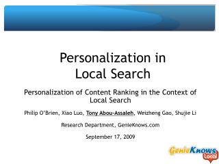 Personalization in Local Search