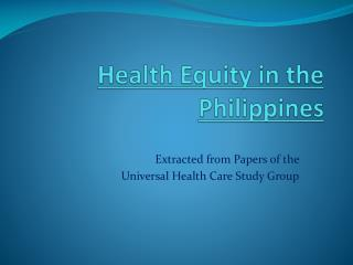 Health  Equity in the Philippines