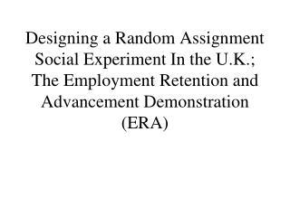 My Role in ERA