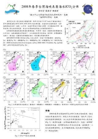 2008 年春季台灣海峽表層海水 fCO 2 分佈