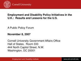 Employment and Disability Policy Initiatives in the U.K.:  Results and Lessons for the U.S.