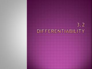 3.2  Differentiability