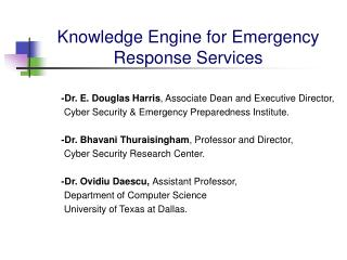Knowledge Engine for Emergency Response Services