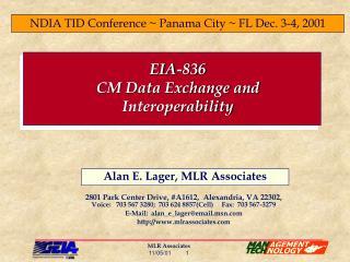 EIA-836 CM Data Exchange and Interoperability