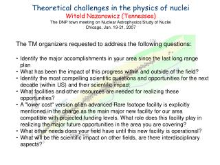 Theoretical challenges in the physics of nuclei Witold Nazarewicz (Tennessee)