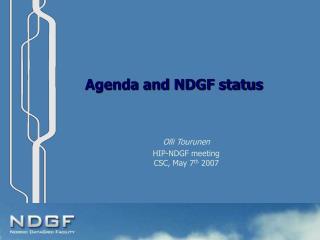 Agenda and NDGF status