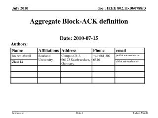 Aggregate Block-ACK definition