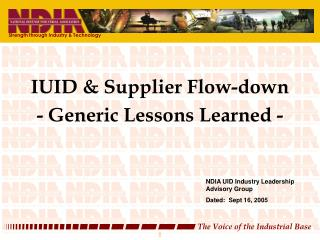 IUID & Supplier Flow-down  - Generic Lessons Learned -