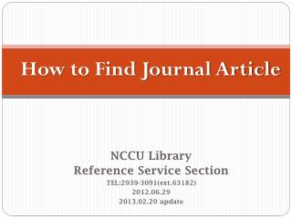 How to Find Journal Article