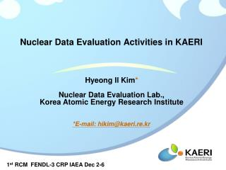 Nuclear Data Evaluation Activities in KAERI