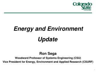 Ron Sega Woodward Professor of Systems Engineering (CSU)