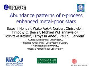 Abundance patterns of r-process enhanced metal-poor stars