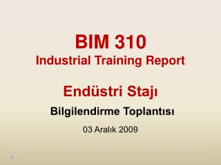 BIM 310 Industrial Training Report  Endüstri Stajı