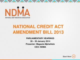 NATIONAL CREDIT ACT AMENDMENT BILL 2013