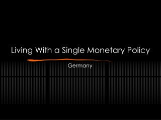 Living With a Single Monetary Policy