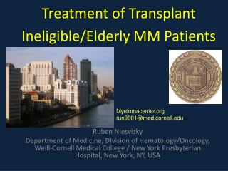Treatment of Transplant Ineligible/Elderly MM Patients