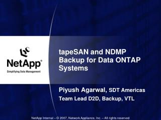 tapeSAN and NDMP Backup for Data ONTAP Systems