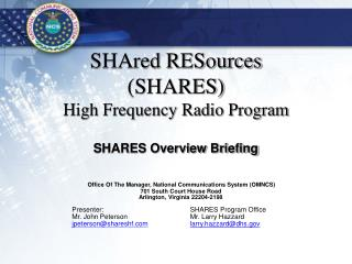 SHAred RESources (SHARES) High Frequency Radio Program