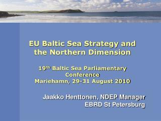 Jaakko Henttonen, NDEP Manager EBRD St Petersburg