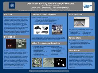 Vehicle Location by Thermal Images Features CS 426 Senior Project - Spring 2012