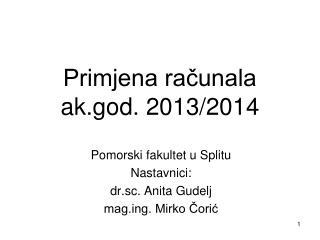 Primjena računala ak.god. 2013/2014