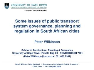 Some issues of public transport system governance, planning and regulation in South African cities