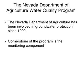 The Nevada Department of Agriculture Water Quality Program