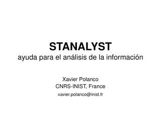 STANALYST ayuda para el an á lisis de la informaci ó n