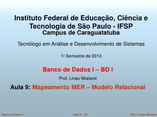 Banco de Dados I – BD I   Prof. Lineu Mialaret  Aula 9: Mapeamento MER – Modelo Relacional