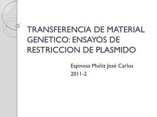 TRANSFERENCIA DE MATERIAL GENETICO: ENSAYOS DE RESTRICCION DE PLASMIDO
