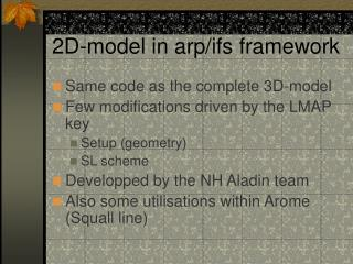 2D-model in arp/ifs framework