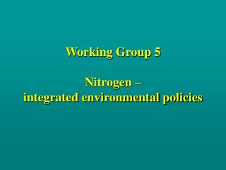 Working Group 5 Nitrogen –  integrated environmental policies