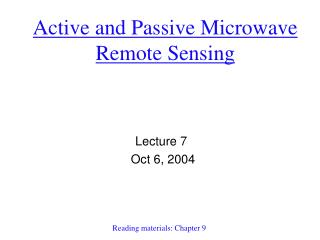 Active and Passive Microwave Remote Sensing