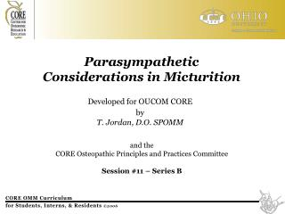 Parasympathetic Considerations in Micturition