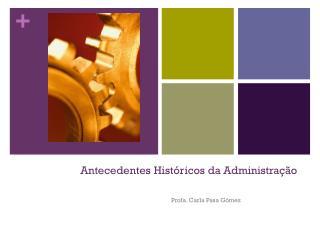 Antecedentes Hist�ricos da Administra��o