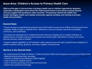 Issue Area: Children's Access to Primary Health Care
