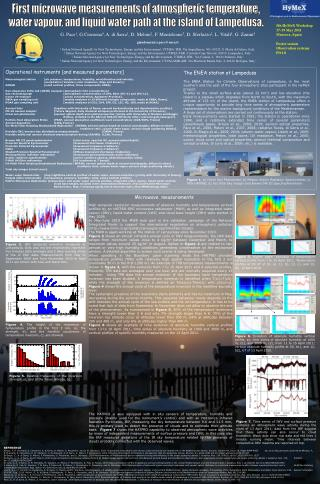 5th HyMeX Workshop 17-19 May 2011 Menorca, Spain Poster session Observation systems PO1.8