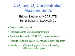CO 2  and O 2  Concentration Measurements