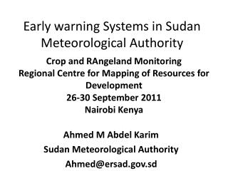 Early warning Systems in Sudan Meteorological Authority