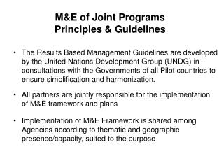 M&E of Joint Programs Principles & Guidelines