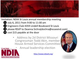 Address by 2d District Missouri Congressman Todd Akin, member House Armed Services Committee