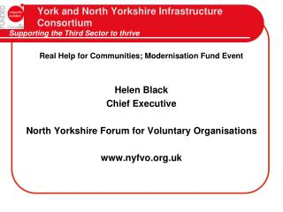 York and North Yorkshire Infrastructure   Consortium Supporting the Third Sector to thrive