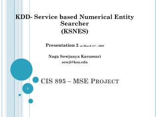 CIS 895 – MSE Project