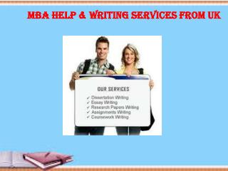 MBA Help & Writing Services from UK