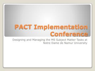 PACT Implementation Conference