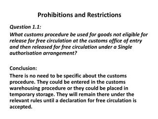 Prohibitions and Restrictions