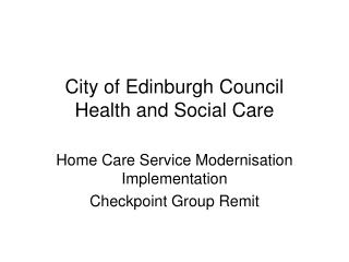 City of Edinburgh Council Health and Social Care