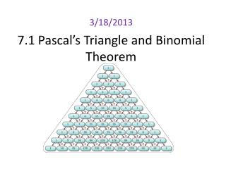 7.1 Pascal's Triangle and Binomial Theorem