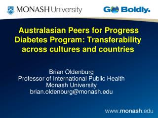 Australasian Peers for Progress Diabetes Program: Transferability across cultures and countries
